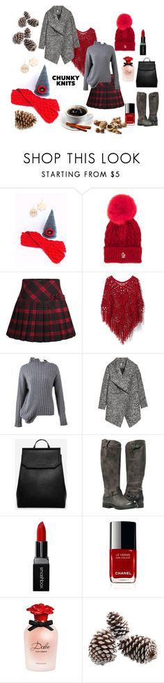 """""""Contest : CHUNKY KNITS"""" by suninvirgo ❤ liked on Polyvore featuring Moncler Grenoble, Chicwish, Joseph, H&M, CHARLES & KEITH, Smashbox and Dolce&Gabbana"""