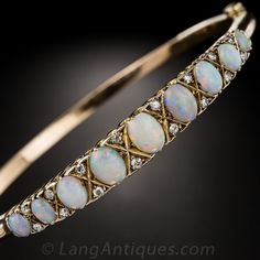 Opal and diamond bangle, 9K gold, made in the late 19th century.