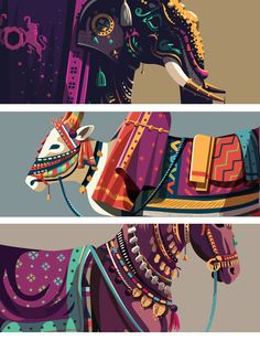 The series is a tribute to some of the celebrated animals across India and their significance in some of the Indian traditions. A modern day take on their depiction in carrying forward the rich traditions. Indian Illustration, Illustration Story, Graphic Design Illustration, Graphic Art, Art Painting Gallery, Indian Art Paintings, India Art, Baby Art, Pattern Drawing