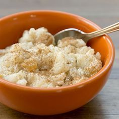 Rice Pudding. Eat it for breakfast. Add some honey and fresh fruits.