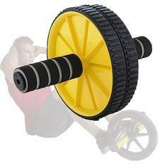 Yellow Dual Ab Wheel for Abs/Abdominal Roller With Mat Workout Exercise Fitness. This ab roller is made of environmental PU material. It makes no noise, no smell, environment friendly. No harm to your floor board. Anti-slip hand grip, moisture wicking. Overall Size: 27cm x 18cm/ 10.6inch x 7inch. Contoured, rubber hand grips ensure safety and offer comfort. Rubber covered wheels for safety. This ab roller is suitable for both beginners and advanced exercisers to develop balanced abs, arms...