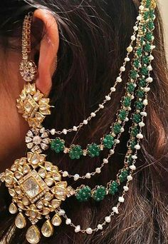 When you spent your allotted budget on your bridal jewelry, it didn't mean that you had to put it away after the wedding. Wearing your bridal jewelry over. Indian Jewelry Earrings, Indian Jewelry Sets, Indian Wedding Jewelry, India Jewelry, Bridal Earrings, Bridal Jewelry, Gold Jewelry, Ear Chain, Pakistani Jewelry