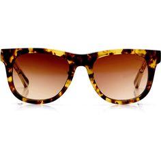Linda Farrow + Kris Van Assche Tortoiseshell D-Frame Sunglasses ($400) found on Polyvore