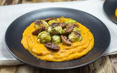 Sweet Potato Mash With Maple-Pecans and Brussels Sprouts