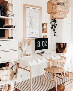 Clean And Bright, Boho Home Office Inspiration Ideas Home Office Design, Home Office Decor, House Design, Modern Office Decor, Decoration Inspiration, Room Inspiration, Decor Ideas, Aesthetic Rooms, Home And Deco