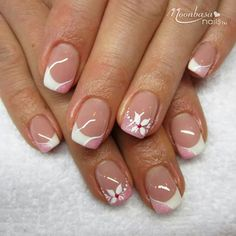 There are three kinds of fake nails which all come from the family of plastics. Acrylic nails are a liquid and powder mix. They are mixed in front of you and then they are brushed onto your nails and shaped. These nails are air dried. Love Nails, Pink Nails, Pretty Nails, My Nails, French Nail Designs, Toe Nail Designs, Acrylic Nail Designs, Nails Design, Nail Manicure