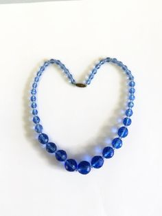 Vintage Blue Glass Bead Necklace Faceted Beads by WeeLambieVintage