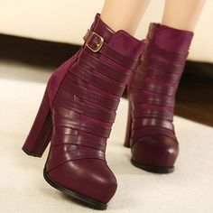 Suede Red Buckle Round Closed Toe Chunky Super High Heel Boots#ShopSimple