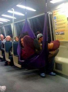 Sleeping in a hammock on the train.  Like a BOSS