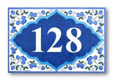 Blueberries sign ceramic sign House numbers sign by AyeBarDesigns
