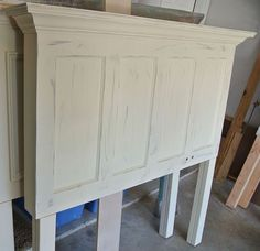 Popcorn White 4 Panel Old Door Headboard With Gray Distressing Applied