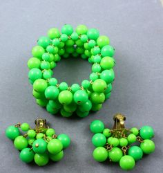 Wide Vintage Lime Green Glass Bead Cha Cha by GildedAgeJewels, $38.00