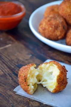 Arancini (Rice Balls) with Marinara Sauce #Small_Bites #Rice_Balls #Arancini