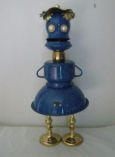 Junkbotworld.com - RECYCLED ART ROBOT BLUE BELL BLUE GRANITEWEAR ROBOT 130.00 FREE SHIPPING