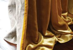 de Le Cuona :: Eclectic :: Curtain in Silk Velvet Yellow backed with Desert Cloth Stone
