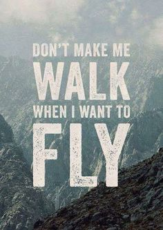 No me hagas caminar, cuando quiero volar