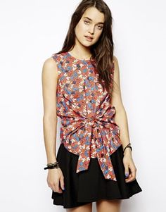 Eleven Paris Top in Disney Print with Tie Front