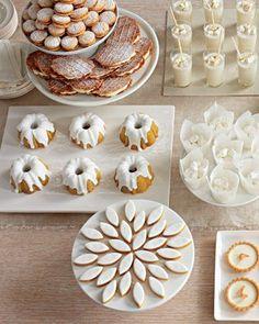 All-white christmas dessert table