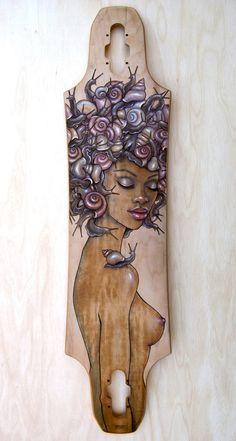 """""""Snail Fro"""" skateboard deck art by Fay Helfer."""