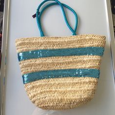 Bebe sequin straw beach bag tote large purse new 2b Bebe beach bag tote large purse new with tags ..perfect beach tote so cute ..large size .. bebe Bags Totes