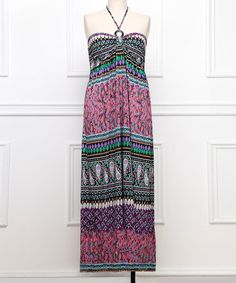 Look what I found on #zulily! Pink & Purple Paisley Halter Maxi Dress - Plus #zulilyfinds