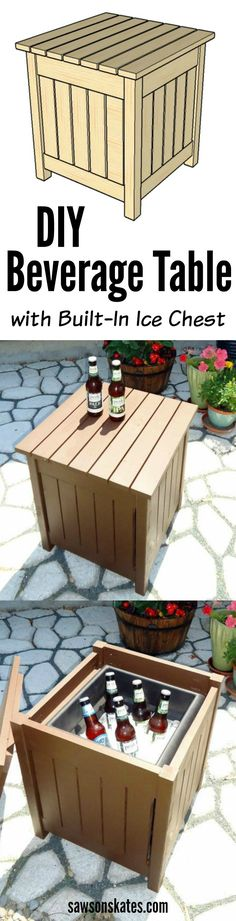 Looking for small outdoor beverage table ideas? Check out the DIY plans for this easy to build wooden beverage table with built in ice chest. A great table to enjoy some drinks like iced tea or some ice cold beer - perfect for your next party!