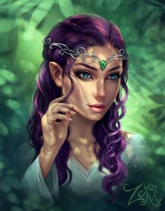 f Wood Elf Sorcerer Robes Circlet portrait female Deciduous Forest jungle by Zyari lg & xlg (saved) Elf Characters, Dungeons And Dragons Characters, Fantasy Characters, Fantasy Character Design, Character Inspiration, Character Art, Fantasy Portraits, Character Portraits, Fantasy Artwork