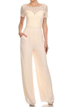 Short Sleeve Full Length Wide Leg Jumpsuit