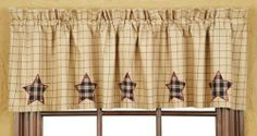 """Bingham Star Applique Star Lined Valance 16x72"""" by Victorian Heart Co., Inc.. $21.95. Valance 16""""x72"""". As pictured.. Coordinating quilts, bedding, window treatments, and kitchen collection also available.. 100% cotton. Lined with premium 40""""s sheeting poplin.. Bingham Star quilted items feature a block pattern with 5 point stars and strip blocks in charcoal, garnet and sand. Woven coverlet is an overscaled plaid from the quilt program, made in a dobby weave. Bingham Star is..."""