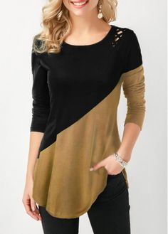 Mothers Day Gifts Ideas Womens Casual Tops Color Block Curved Hem Lace Up Side T Shirt Trendy Tops For Women, Blouses For Women, Stylish Tops For Girls, Stylish Clothes For Women, Casual Outfits, Fashion Outfits, White Outfits, Mode Style, Blouse Designs
