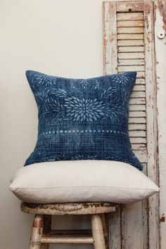 Vintage 80 Year Old Batik Indigo Fabric Pillow by mreyeslifestyle, $72.00