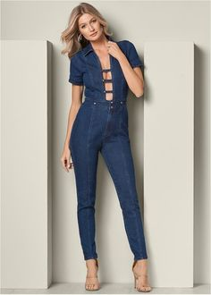 c1c15ef46189 Front View Plunging Denim Jumpsuit Jumpsuit Dressy