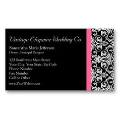 Black with Pink Passion Damask Business Card Templates