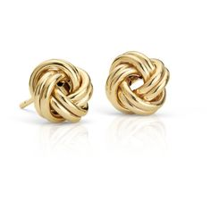 Blue Nile Petite Love Knot Earrings ($145) ❤ liked on Polyvore featuring jewelry, earrings, 14k stud earrings, gold earrings, stud earring set, yellow gold love knot earrings and gold jewelry