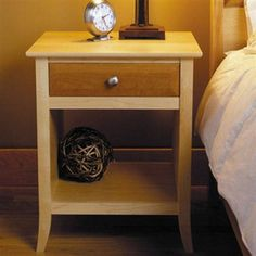 cherry and maple nightstand, shaker inspired.  I like this leg style, so plan to do a modified version on the Rhyan table I plan to build soon.
