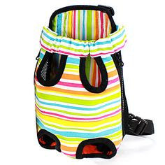 Colorful Stripe Pattern Front Backpack Bag Pet Carrier for Dogs (S-XL) – USD $ 17.09