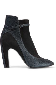 MAISON MARTIN MARGIELA Glittered Leather-Trimmed Suede Ankle Boots. #maisonmartinmargiela #shoes #boots