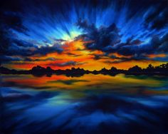 """Painting sky in oil with Svetlana Kanyo.""""Sunset in Blue"""""""
