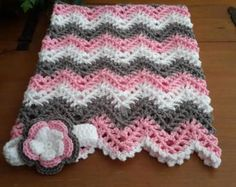 gray chevron ripple baby blanket baby afghan crochet grey and