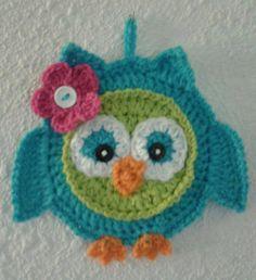 Cute Crochet Owl Pot Holder Patteren only por 3ThreadinBettys