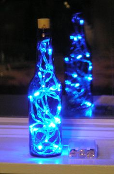 Blue Glass Beer Bottle Light with white LED lights by vtbrownjs, $13.95