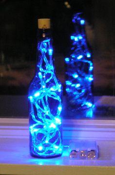 Blue Glass Beer Bottle Light with white LED lights by vtbrownjs, $13.95