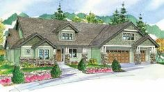 Craftsman Style House Plans - 3739 Square Foot Home , 2 Story, 4 Bedroom and 3 Bath, 3 Garage Stalls by Monster House Plans - Plan 17-795