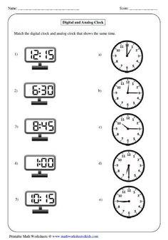 All kinds of time worksheets Matching Analog and Digital Clock . All kinds of time worksheets Matching Analog and Digital Clock Clock Worksheets, Printable Math Worksheets, Kindergarten Math Worksheets, School Worksheets, Worksheets For Kids, Math Activities, Free Printable, Measurement Worksheets, Printable Shapes