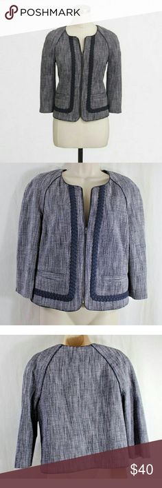 "J Crew 12 Navy Suiting Blazer Jacket Tweed New Navy blue and white tweed, lined, full zip blazer jacket, Suiting style. Ribbon detail, 3/4 sleeve. Perfect for all seasons, career or casual. Cotton + polyester blend. Measures: 38"" chest, 21"" length. Size 12. New with tags. J Crew Factory Jackets & Coats Blazers"