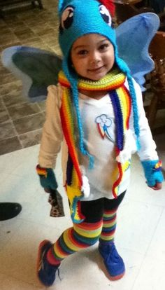 Rainbow Dash outfit with handmade crocheted gloves scarf and hat