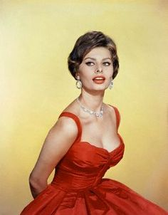 beautiful in her red dress