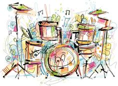 Better Drawing - Image shows a drum set in sketchy art; vectorimage with only one layer, without opening shapes and gradients; digital drawing with free wild style; better for white. Musical Instruments Drawing, Drum Drawing, Oil Painting Gallery, Drum Music, Fantasy Drawings, Music Wallpaper, Photo Wallpaper, Music Images, Tambour