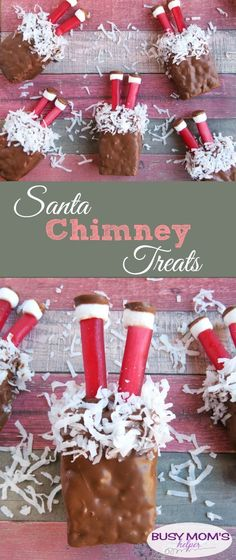 Cute Santa Chimney Treats – Busy Moms Helper Cute Santa Chimney Treats / Uh-oh, Santa is stuck in the chimney in these fun and easy Christmas treats! Creative Christmas Food, Easy Christmas Treats, Christmas Sweets, Christmas Goodies, Christmas Candy, Simple Christmas, Christmas Baking, Holiday Treats, Christmas Holidays