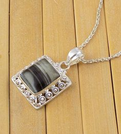 Natural Black Banded Agate 15x15mm Square Shape Cabochon Gemstone 925 Sterling Silver Pendant,Rare Gemstone Silver Pendant by UGCHONGKONG on Etsy